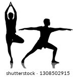 collage of black silhouette of... | Shutterstock . vector #1308502915