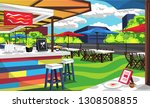 clean rooftop cafe outdoor with ... | Shutterstock .eps vector #1308508855