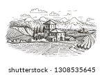 hand drawn rural landscape.... | Shutterstock .eps vector #1308535645