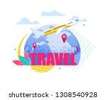 banner illustration travel by... | Shutterstock .eps vector #1308540928