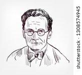 erwin schrodinger vector sketch ... | Shutterstock .eps vector #1308574945