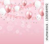 glossy happy birthday balloons... | Shutterstock .eps vector #1308584992