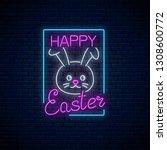 happy easter glowing signboard... | Shutterstock .eps vector #1308600772