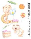 watercolor happy hamster set....
