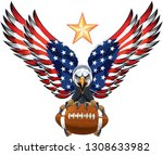 American Eagle With Usa Flags...