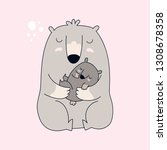 mama bear and baby bear on pink ... | Shutterstock .eps vector #1308678358