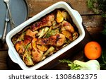 dish with fennel. baked chicken ... | Shutterstock . vector #1308682375
