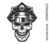 skull in the policeman hat. ... | Shutterstock . vector #1308690622