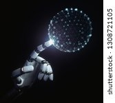 robotic hand touching with... | Shutterstock . vector #1308721105