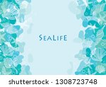 abstract outline starfish and... | Shutterstock .eps vector #1308723748