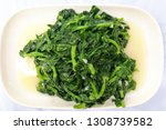 Stir fry dau miu, or snow pea sprout vegetable, available during winter season in Hong Kong and China.