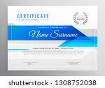 modern blue horizontal diploma... | Shutterstock .eps vector #1308752038