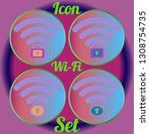 multicolored geometric weave... | Shutterstock .eps vector #1308754735