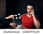 male actor at casting agency... | Shutterstock . vector #1308795235
