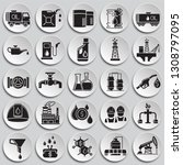 oil industry icon set on plates ... | Shutterstock .eps vector #1308797095