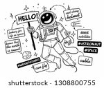 sketch astronaut in a spacesuit ... | Shutterstock .eps vector #1308800755