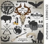 Set of vintage labels on hunting 2 - stock vector