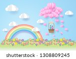 rainbow and clouds  valentines ... | Shutterstock .eps vector #1308809245