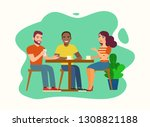 a group of friends talking at a ... | Shutterstock .eps vector #1308821188