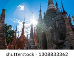 shwe indein pagoda with rows of ... | Shutterstock . vector #1308833362