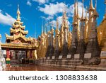 shwe indein pagoda with rows of ... | Shutterstock . vector #1308833638