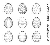 easter eggs set for coloring... | Shutterstock .eps vector #1308846655