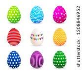 colorful easter eggs set.... | Shutterstock .eps vector #1308846952