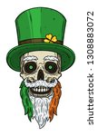 irish skull. skull of saint... | Shutterstock .eps vector #1308883072