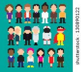 set of pixel art people icons ... | Shutterstock .eps vector #130890122