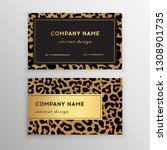 business card trendy leopard... | Shutterstock .eps vector #1308901735