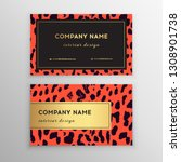 business card trendy leopard... | Shutterstock .eps vector #1308901738