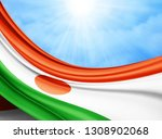 niger flag of silk with... | Shutterstock . vector #1308902068