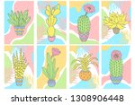set of cute cards with cactuses.... | Shutterstock .eps vector #1308906448