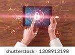 hand touching online network...   Shutterstock . vector #1308913198