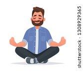 meditating man over isolated... | Shutterstock .eps vector #1308929365