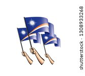 marshall islands flag and hand... | Shutterstock .eps vector #1308933268