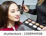 makeup artist applying powder...   Shutterstock . vector #1308944938
