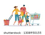 shopping family. mom dad kids... | Shutterstock .eps vector #1308950155