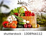 table background and spring... | Shutterstock . vector #1308966112