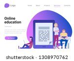 education online flat style...   Shutterstock .eps vector #1308970762