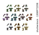 Set of fantasy armor for game isolated on white background. Vector illustration.
