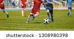 football soccer players running ... | Shutterstock . vector #1308980398