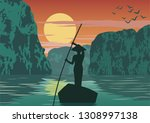 man row boat to go to come back ... | Shutterstock .eps vector #1308997138