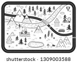 black and white kids road play...   Shutterstock .eps vector #1309003588