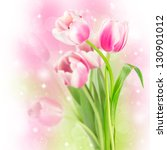 Flowers Blooming Tulips On A...
