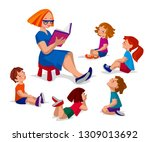 group of kids sitting in circle ... | Shutterstock .eps vector #1309013692