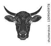 cow calf bull s head isolated... | Shutterstock .eps vector #1309045978