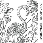 flamingo coloring page  vector... | Shutterstock .eps vector #1309049272