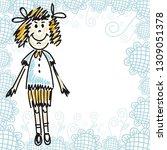 cute cartoon girl. vector...   Shutterstock .eps vector #1309051378