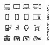 electronic devices icons with...